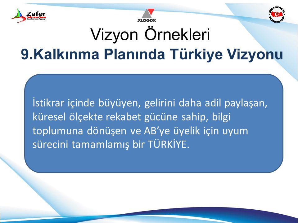 Vizyon Örnekleri 9.Kalkınma Planında Türkiye Vizyonu İstikrar içinde büyüyen, gelirini daha adil paylaşan, küresel ölçekte rekabet gücüne sahip, bilgi