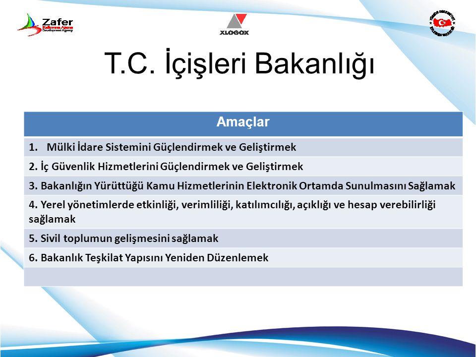 T.C. İçişleri Bakanlığı Amaçlar 1.Mülki İdare Sistemini Güçlendirmek ve Geliştirmek 2. İç Güvenlik Hizmetlerini Güçlendirmek ve Geliştirmek 3. Bakanlı