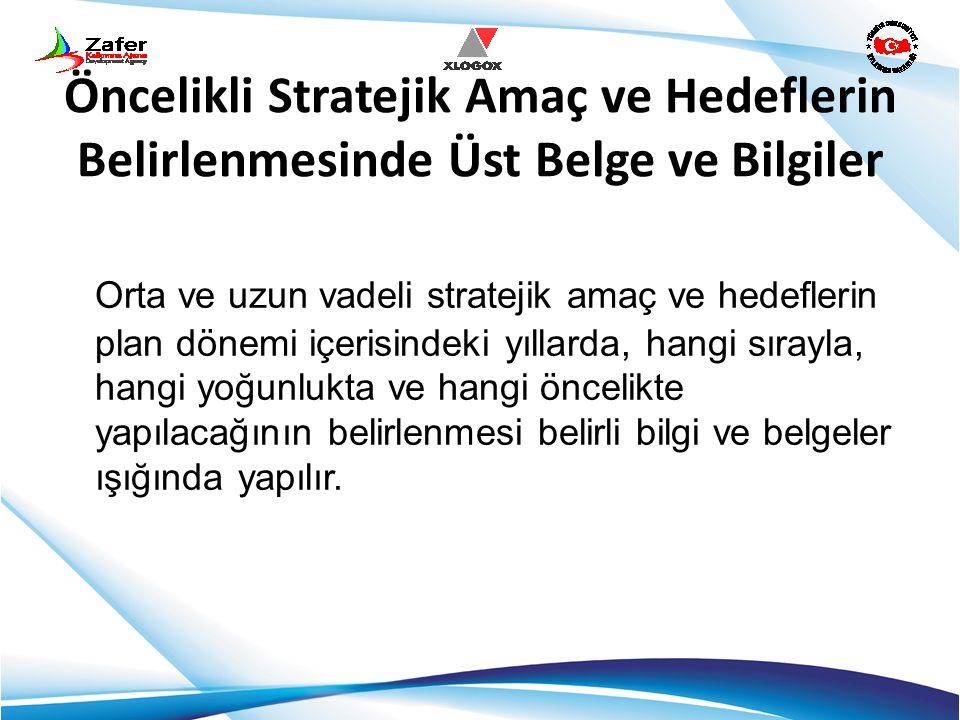 Öncelikli Stratejik Amaç ve Hedeflerin Belirlenmesinde Üst Belge ve Bilgiler Orta ve uzun vadeli stratejik amaç ve hedeflerin plan dönemi içerisindeki