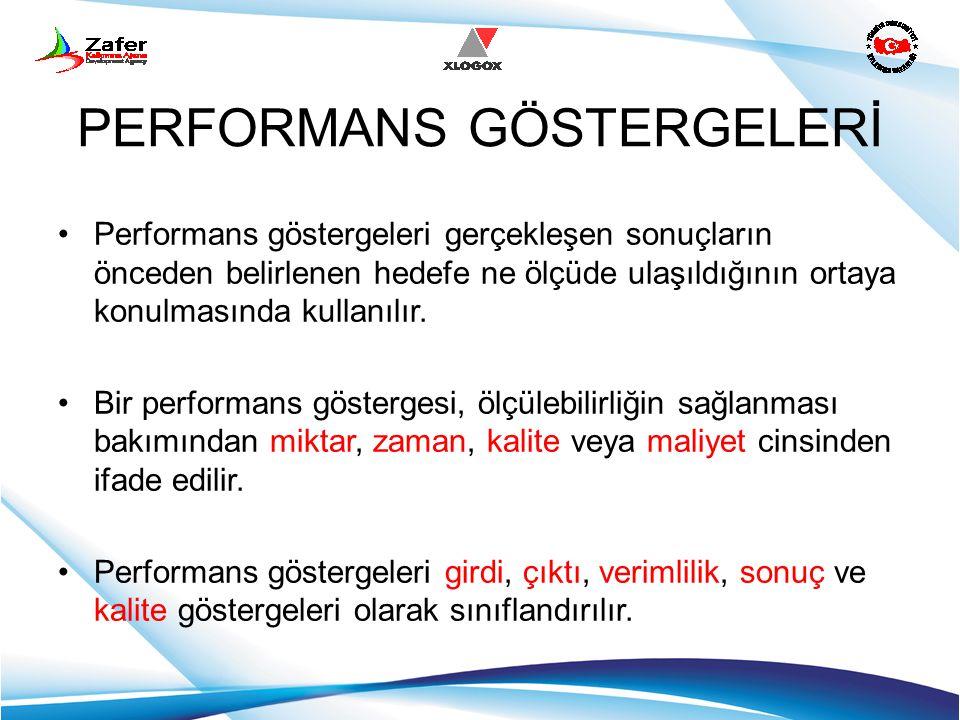 PERFORMANS GÖSTERGELERİ Performans göstergeleri gerçekleşen sonuçların önceden belirlenen hedefe ne ölçüde ulaşıldığının ortaya konulmasında kullanılı