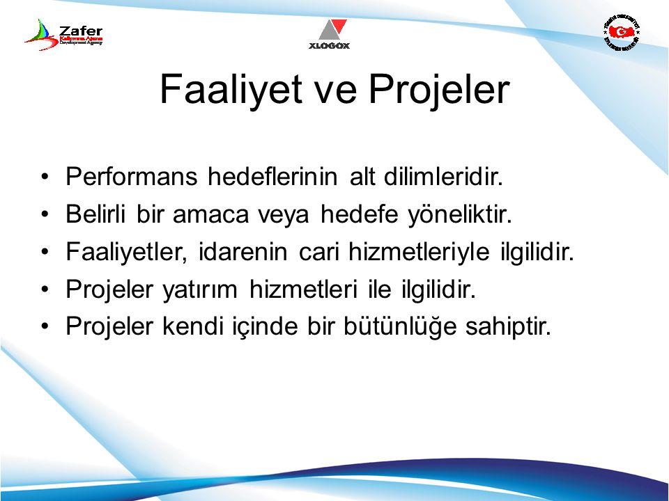 Faaliyet ve Projeler Performans hedeflerinin alt dilimleridir. Belirli bir amaca veya hedefe yöneliktir. Faaliyetler, idarenin cari hizmetleriyle ilgi
