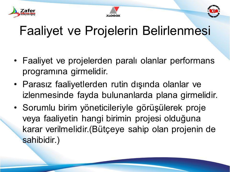 Faaliyet ve Projelerin Belirlenmesi Faaliyet ve projelerden paralı olanlar performans programına girmelidir. Parasız faaliyetlerden rutin dışında olan