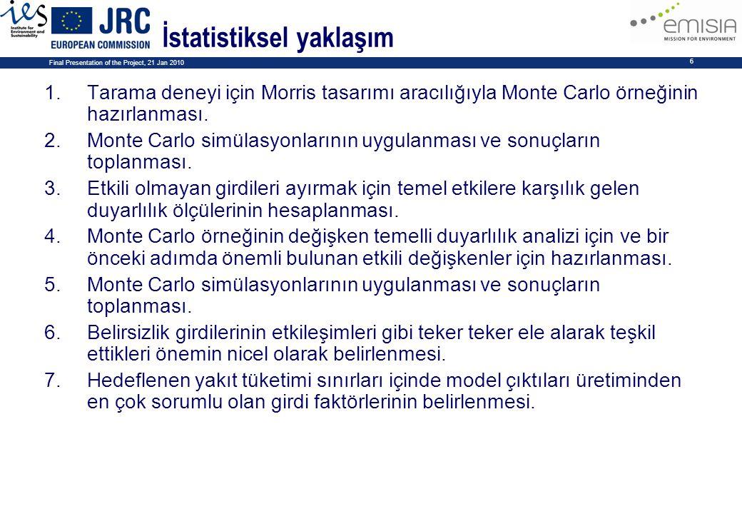 Final Presentation of the Project, 21 Jan 2010 6 İstatistiksel yaklaşım 1.Tarama deneyi için Morris tasarımı aracılığıyla Monte Carlo örneğinin hazırl