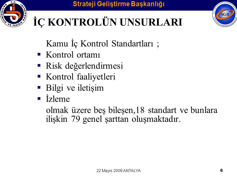 22 Mayıs 2009 ANTALYA6 Kamu İç Kontrol Standartları ;  Kontrol ortamı  Risk değerlendirmesi  Kontrol faaliyetleri  Bilgi ve iletişim  İzleme olma