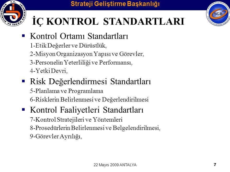 22 Mayıs 2009 ANTALYA8 10-Hiyerarşik Kontroller, 11-Faaliyetlerin Sürekliliği, 12-Bilgi Sistemleri Kontrolleri,  Bilgi ve İletişim Standartları 13-Bilgi ve İletişim, 14-Raporlama, 15-Kayıt ve Dosyalama Sistemi, 16-Hata, Usulsüzlük ve Yolsuzlukların Bildirilmesi,  İzleme Standartları 17-İç Kontrolün Değerlendirilmesi, 18-İç Denetim İÇ KONTROL STANDARTLARI Strateji Geliştirme Başkanlığı