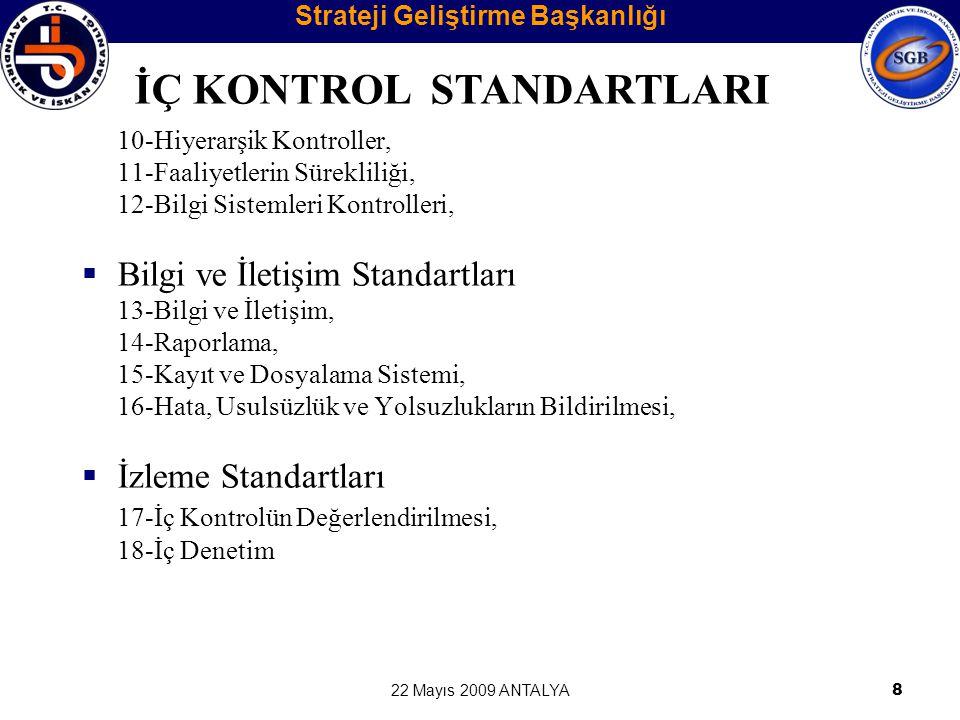 22 Mayıs 2009 ANTALYA8 10-Hiyerarşik Kontroller, 11-Faaliyetlerin Sürekliliği, 12-Bilgi Sistemleri Kontrolleri,  Bilgi ve İletişim Standartları 13-Bi