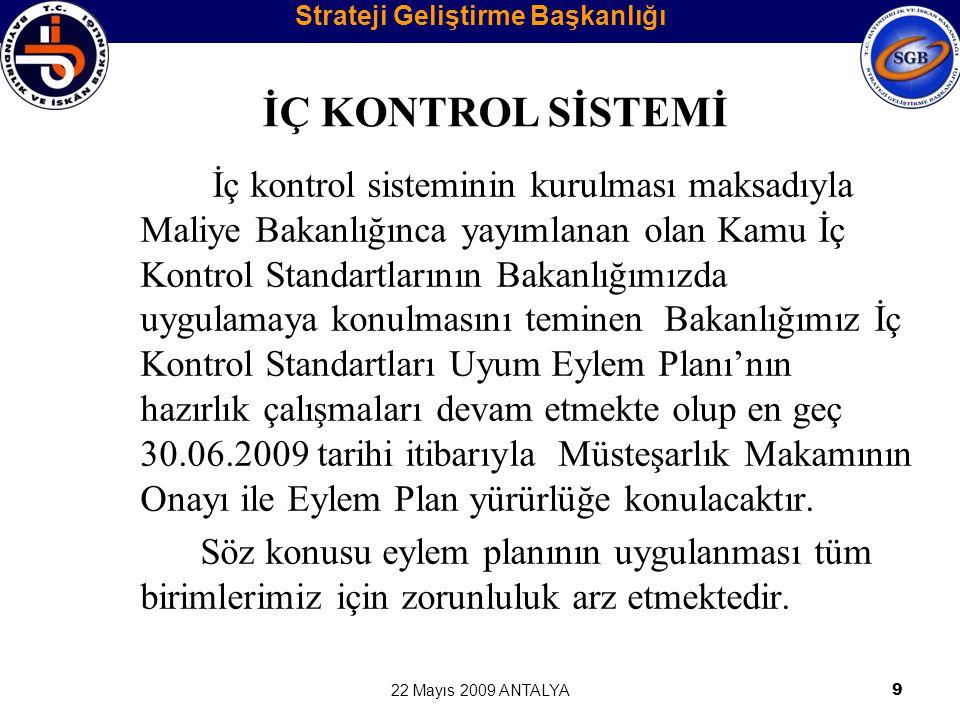 22 Mayıs 2009 ANTALYA20 ÖN MALİ KONTROL FAALİYETLERİ Ön Mali Kontrol: İdarelerin gelir, gider, varlık ve yükümlülüklerine ilişkin mali karar ve işlemlerin;  İdarenin bütçesi,  Bütçe tertibi,  Kullanılabilir ödenek tutarı,  Ayrıntılı harcama programı, Strateji Geliştirme Başkanlığı