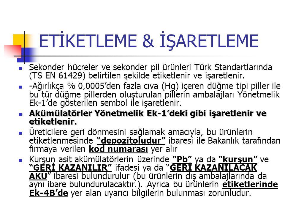 ETİKETLEME & İŞARETLEME Sekonder hücreler ve sekonder pil ürünleri Türk Standartlarında (TS EN 61429) belirtilen şekilde etiketlenir ve işaretlenir. -