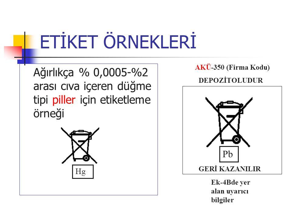 ETİKET ÖRNEKLERİ Ağırlıkça % 0,0005-%2 arası cıva içeren düğme tipi piller için etiketleme örneği Hg AKÜ-350 (Firma Kodu) DEPOZİTOLUDUR Pb GERİ KAZANI
