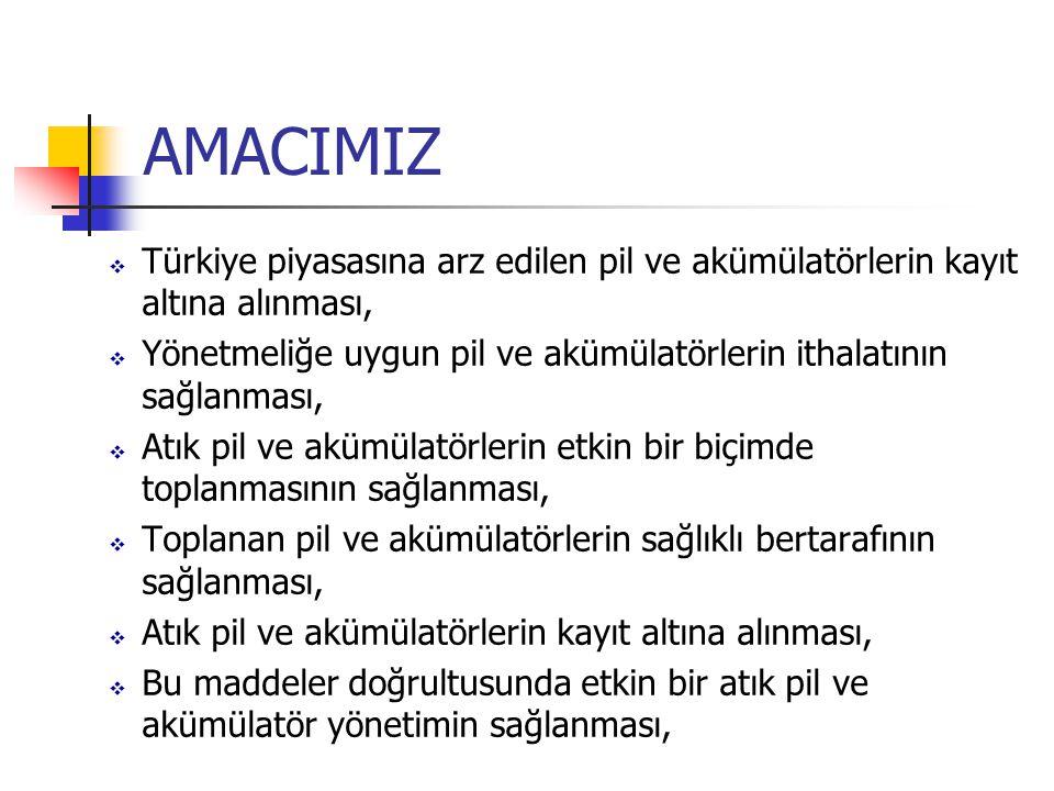 AMACIMIZ  Türkiye piyasasına arz edilen pil ve akümülatörlerin kayıt altına alınması,  Yönetmeliğe uygun pil ve akümülatörlerin ithalatının sağlanma