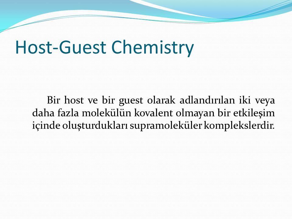 Host-Guest Chemistry Bir host ve bir guest olarak adlandırılan iki veya daha fazla molekülün kovalent olmayan bir etkileşim içinde oluşturdukları supramoleküler komplekslerdir.
