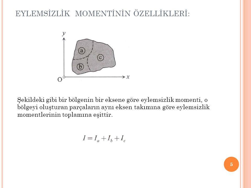 EYLEMSİZLİK MOMENTİNİN ÖZELLİKLERİ: 6 Şekildeki gibi boşluklu bölgelerin eylemsizlik momenti hesabında, dolu geometriyi oluşturan C 1 eğrisinin kapladığı alanın eylemsizlik momentinden C 2 ve C 3 eğrilerinin içinde kalan boşluk alanlarının eylemsizlik momentleri çıkartılır.