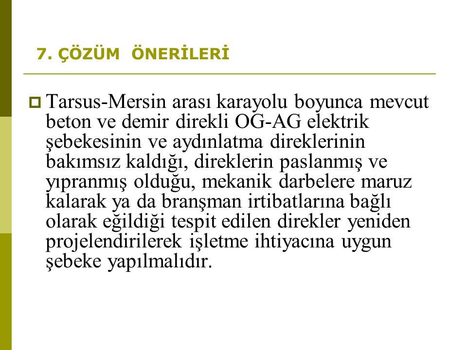7. ÇÖZÜM ÖNERİLERİ  Tarsus-Mersin arası karayolu boyunca mevcut beton ve demir direkli OG-AG elektrik şebekesinin ve aydınlatma direklerinin bakımsız