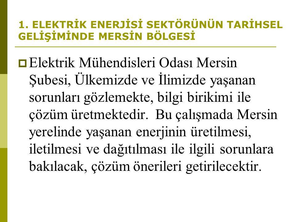1. ELEKTRİK ENERJİSİ SEKTÖRÜNÜN TARİHSEL GELİŞİMİNDE MERSİN BÖLGESİ  Elektrik Mühendisleri Odası Mersin Şubesi, Ülkemizde ve İlimizde yaşanan sorunla