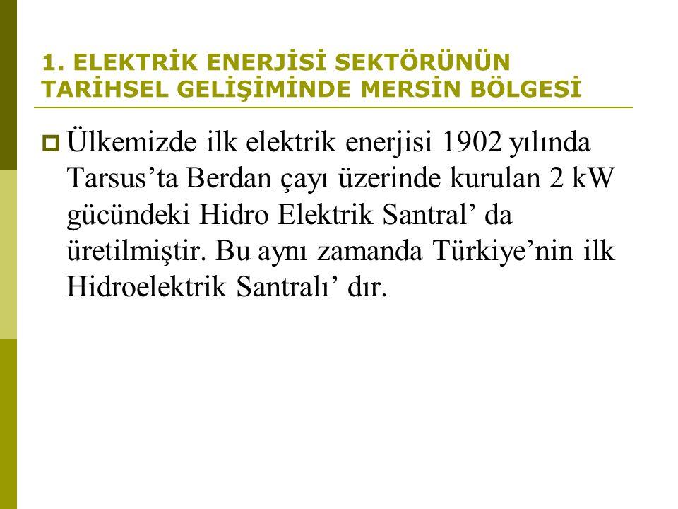 1. ELEKTRİK ENERJİSİ SEKTÖRÜNÜN TARİHSEL GELİŞİMİNDE MERSİN BÖLGESİ  Ülkemizde ilk elektrik enerjisi 1902 yılında Tarsus'ta Berdan çayı üzerinde kuru