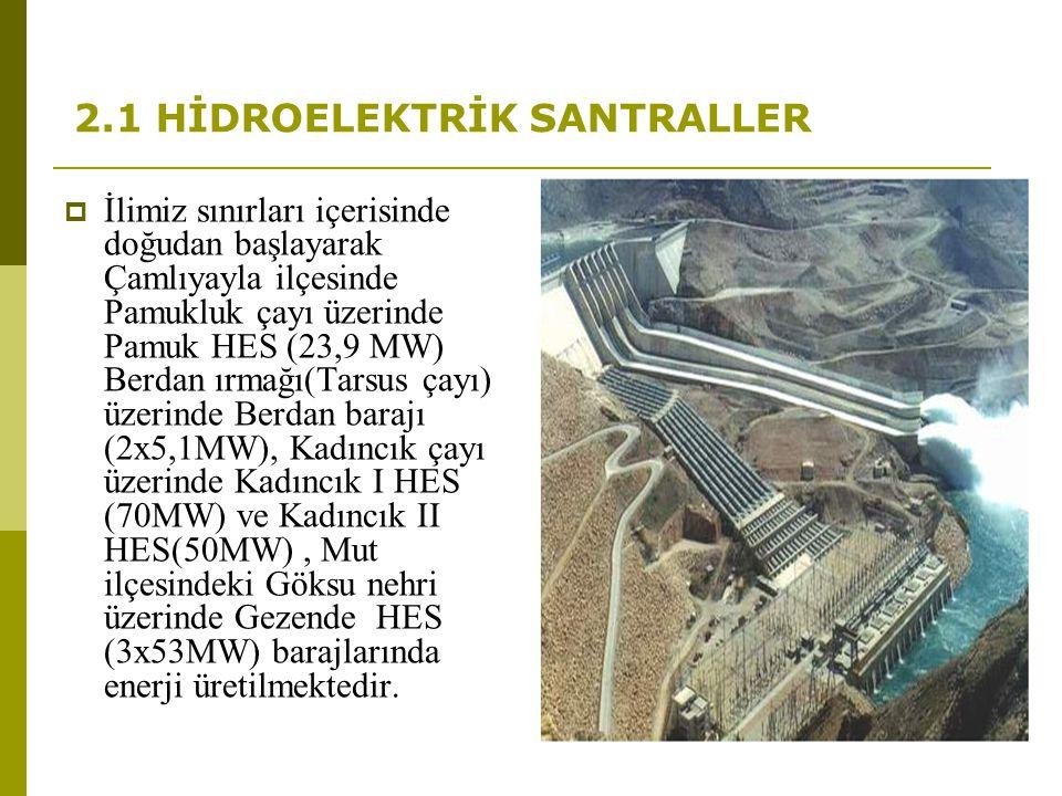 2.1 HİDROELEKTRİK SANTRALLER  İlimiz sınırları içerisinde doğudan başlayarak Çamlıyayla ilçesinde Pamukluk çayı üzerinde Pamuk HES (23,9 MW) Berdan ı