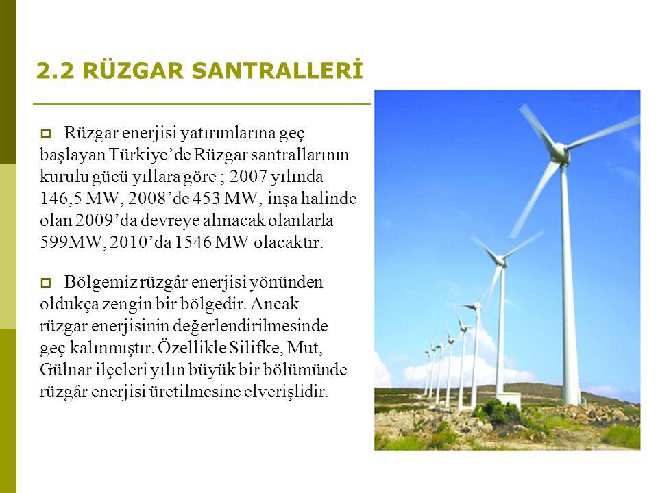2.2 RÜZGAR SANTRALLERİ  Rüzgar enerjisi yatırımlarına geç başlayan Türkiye'de Rüzgar santrallarının kurulu gücü yıllara göre ; 2007 yılında 146,5 MW,