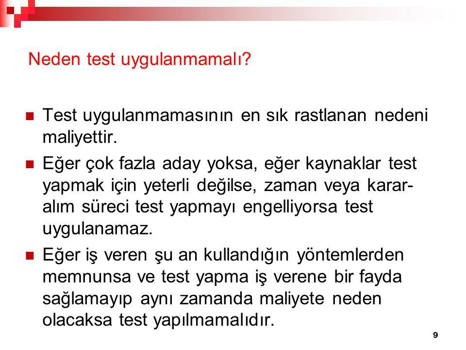 Neden test uygulanmamalı? Test uygulanmamasının en sık rastlanan nedeni maliyettir. Eğer çok fazla aday yoksa, eğer kaynaklar test yapmak için yeterli