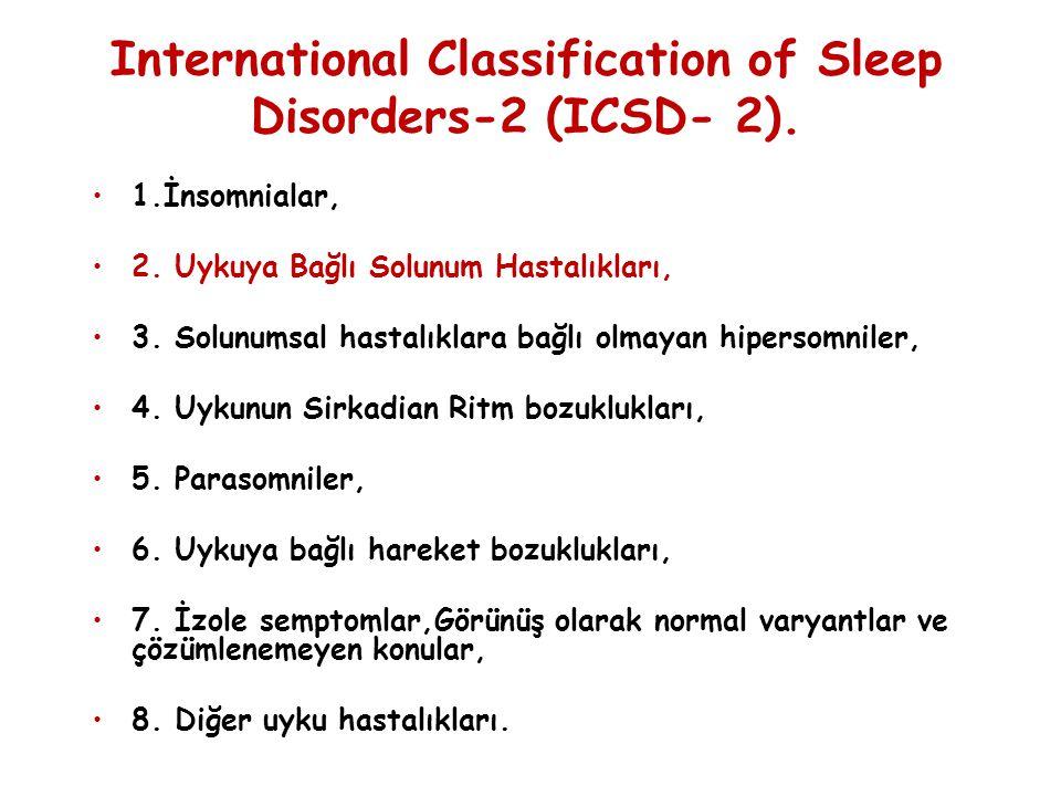 International Classification of Sleep Disorders-2 (ICSD- 2). 1.İnsomnialar, 2. Uykuya Bağlı Solunum Hastalıkları, 3. Solunumsal hastalıklara bağlı olm