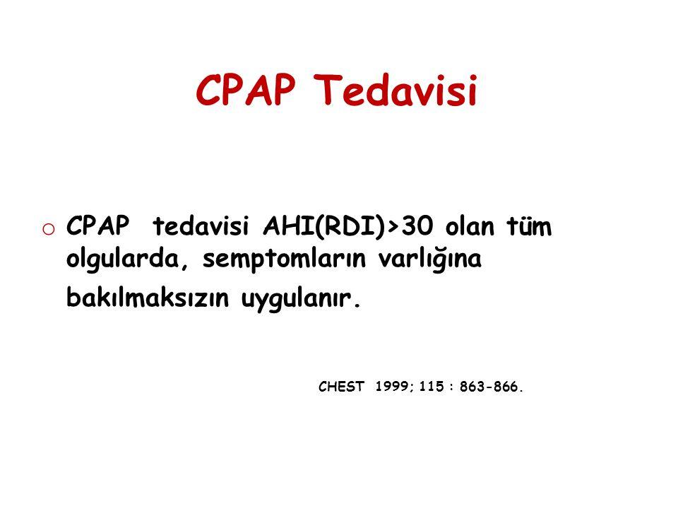CPAP Tedavisi o CPAP tedavisi AHI(RDI)>30 olan tüm olgularda, semptomların varlığına bakılmaksızın uygulanır. CHEST 1999; 115 : 863-866.