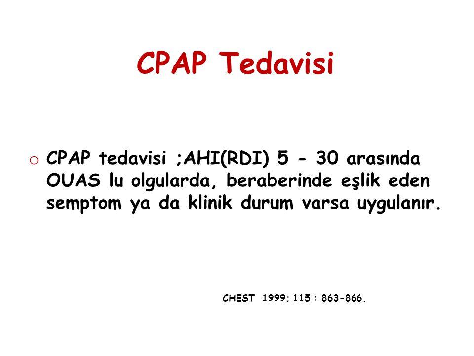 CPAP Tedavisi o CPAP tedavisi ;AHI(RDI) 5 - 30 arasında OUAS lu olgularda, beraberinde eşlik eden semptom ya da klinik durum varsa uygulanır. CHEST 19