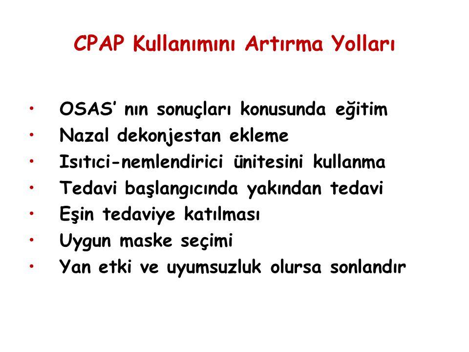 CPAP Kullanımını Artırma Yolları OSAS' nın sonuçları konusunda eğitim Nazal dekonjestan ekleme Isıtıci-nemlendirici ünitesini kullanma Tedavi başlangı