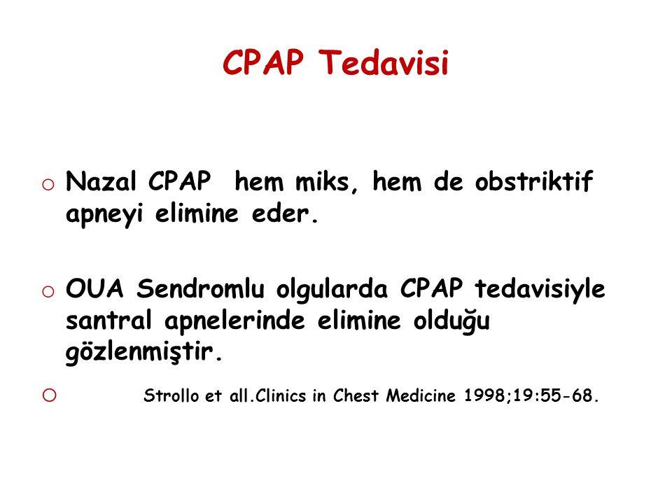 CPAP Tedavisi o Nazal CPAP hem miks, hem de obstriktif apneyi elimine eder. o OUA Sendromlu olgularda CPAP tedavisiyle santral apnelerinde elimine old