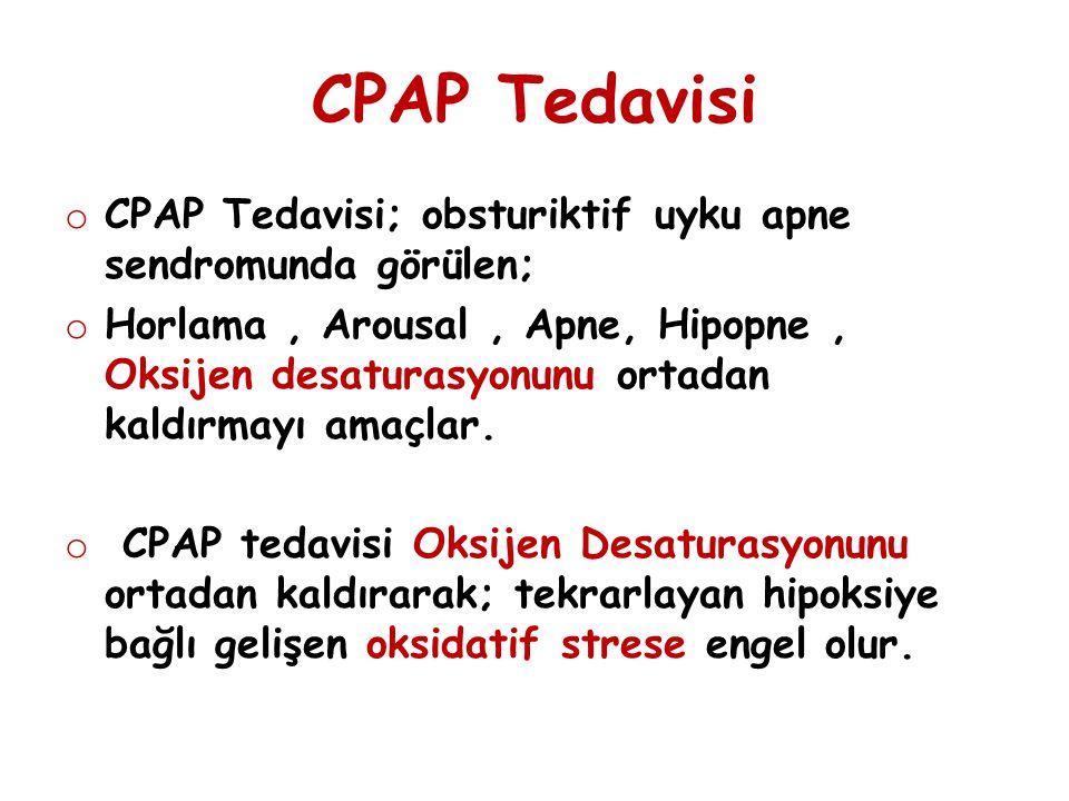 CPAP Tedavisi o CPAP Tedavisi; obsturiktif uyku apne sendromunda görülen; o Horlama, Arousal, Apne, Hipopne, Oksijen desaturasyonunu ortadan kaldırmay