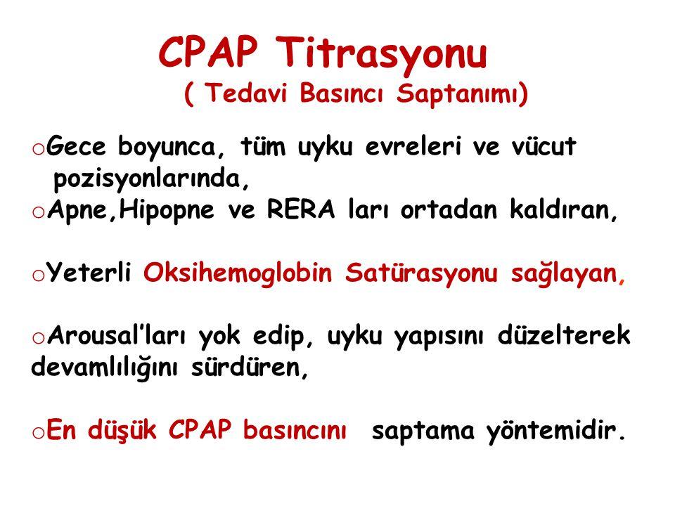 CPAP Titrasyonu ( Tedavi Basıncı Saptanımı) o Gece boyunca, tüm uyku evreleri ve vücut pozisyonlarında, o Apne,Hipopne ve RERA ları ortadan kaldıran,