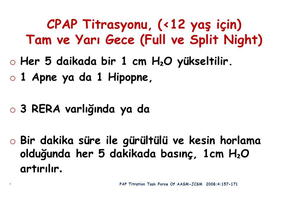 CPAP Titrasyonu, (<12 yaş için) Tam ve Yarı Gece (Full ve Split Night) o Her 5 daikada bir 1 cm H ₂ O yükseltilir. o 1 Apne ya da 1 Hipopne, o 3 RERA