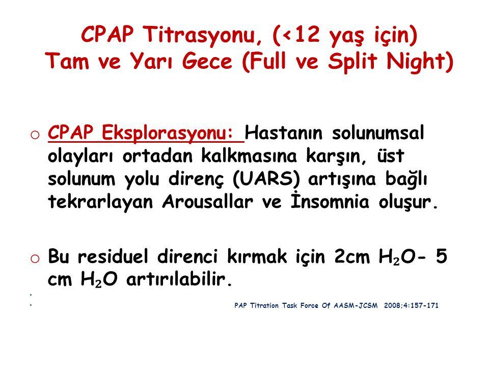 CPAP Titrasyonu, (<12 yaş için) Tam ve Yarı Gece (Full ve Split Night) o CPAP Eksplorasyonu: Hastanın solunumsal olayları ortadan kalkmasına karşın, ü