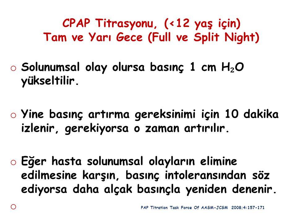 CPAP Titrasyonu, (<12 yaş için) Tam ve Yarı Gece (Full ve Split Night) o Solunumsal olay olursa basınç 1 cm H ₂ O yükseltilir. o Yine basınç artırma g