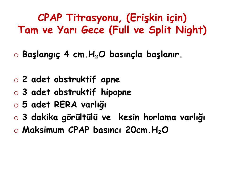 CPAP Titrasyonu, (Erişkin için) Tam ve Yarı Gece (Full ve Split Night) o Başlangıç 4 cm.H ₂ O basınçla başlanır. o 2 adet obstruktif apne o 3 adet obs