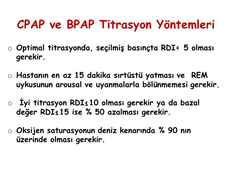 CPAP ve BPAP Titrasyon Yöntemleri o Optimal titrasyonda, seçilmiş basınçta RDI< 5 olması gerekir. o Hastanın en az 15 dakika sırtüstü yatması ve REM u