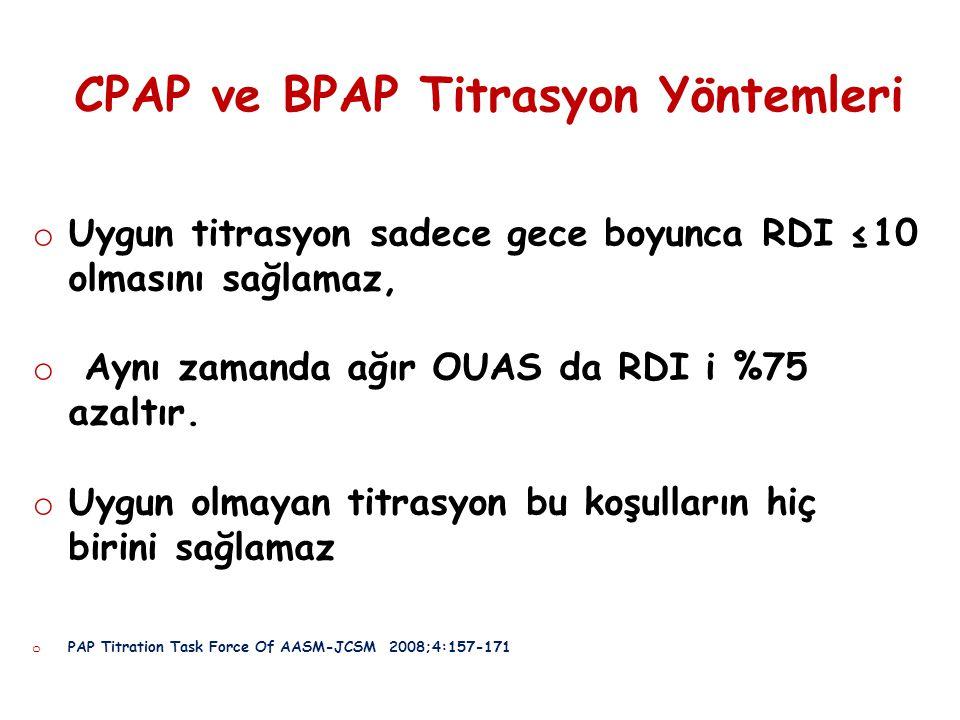 CPAP ve BPAP Titrasyon Yöntemleri o Uygun titrasyon sadece gece boyunca RDI ≤10 olmasını sağlamaz, o Aynı zamanda ağır OUAS da RDI i %75 azaltır. o Uy