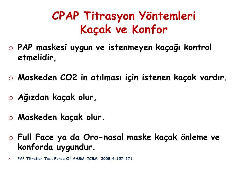 CPAP Titrasyon Yöntemleri Kaçak ve Konfor o PAP maskesi uygun ve istenmeyen kaçağı kontrol etmelidir, o Maskeden CO2 in atılması için istenen kaçak va