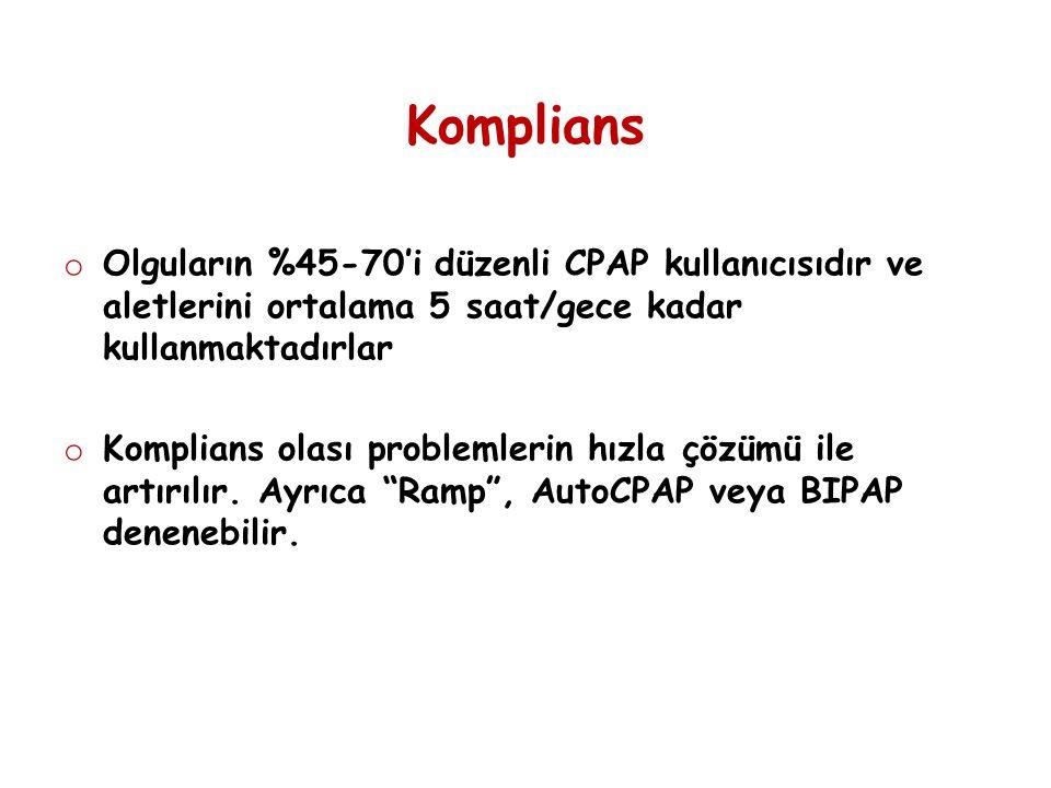 Komplians o Olguların %45-70'i düzenli CPAP kullanıcısıdır ve aletlerini ortalama 5 saat/gece kadar kullanmaktadırlar o Komplians olası problemlerin h