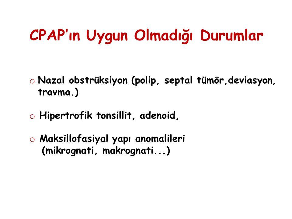 CPAP'ın Uygun Olmadığı Durumlar o Nazal obstrüksiyon (polip, septal tümör,deviasyon, travma.) o Hipertrofik tonsillit, adenoid, o Maksillofasiyal yapı