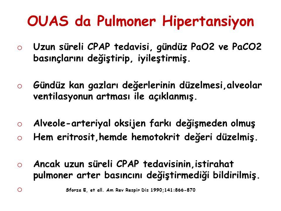 OUAS da Pulmoner Hipertansiyon o Uzun süreli CPAP tedavisi, gündüz PaO2 ve PaCO2 basınçlarını değiştirip, iyileştirmiş. o Gündüz kan gazları değerleri