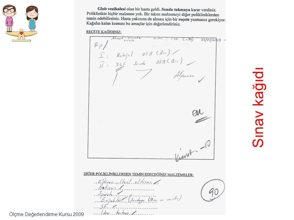 Sınav kağıdı Ölçme Değerlendirme Kursu 2009