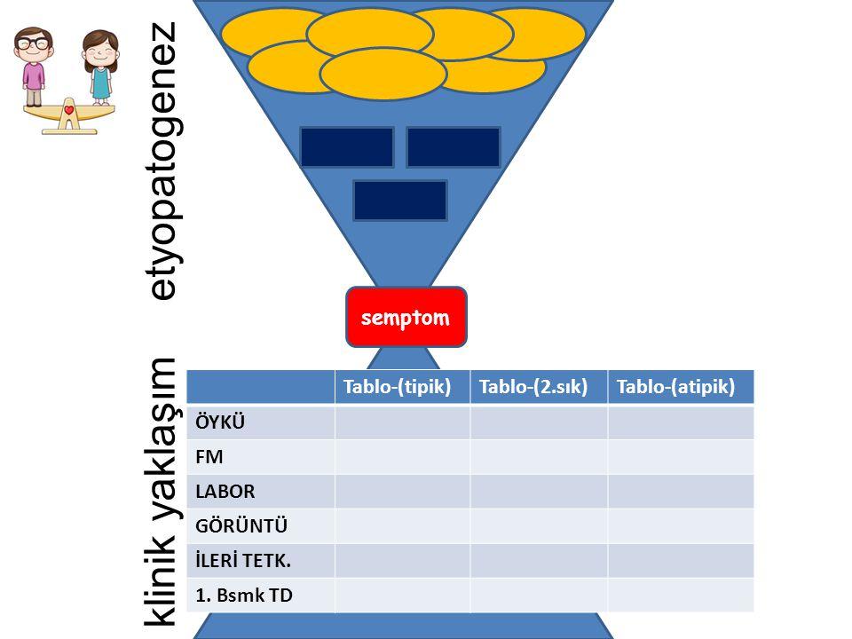 etyopatogenez klinik yaklaşım Tablo-(tipik)Tablo-(2.sık)Tablo-(atipik) ÖYKÜ FM LABOR GÖRÜNTÜ İLERİ TETK. 1. Bsmk TD semptom