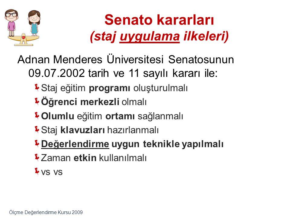 Senato kararları (staj uygulama ilkeleri) Adnan Menderes Üniversitesi Senatosunun 09.07.2002 tarih ve 11 sayılı kararı ile:  Staj eğitim programı olu