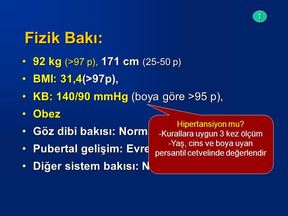 Fizik Bakı: 92 kg (>97 p), 171 cm (25-50 p)92 kg (>97 p), 171 cm (25-50 p) BMI: 31,4(>97p),BMI: 31,4(>97p), KB: 140/90 mmHg (boya göre >95 p),KB: 140/90 mmHg (boya göre >95 p), ObezObez Göz dibi bakısı: NormalGöz dibi bakısı: Normal Pubertal gelişim: Evre V (Tanner)Pubertal gelişim: Evre V (Tanner) Diğer sistem bakısı: Normal.Diğer sistem bakısı: Normal.