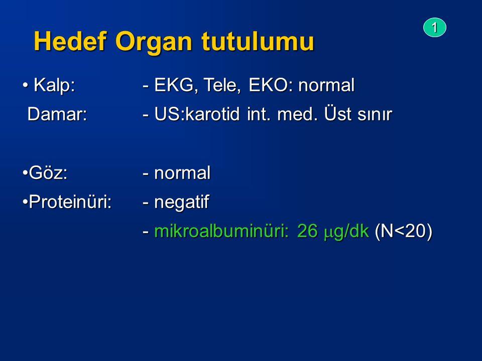 Kalp:- EKG, Tele, EKO: normal Kalp:- EKG, Tele, EKO: normal Damar: - US:karotid int.