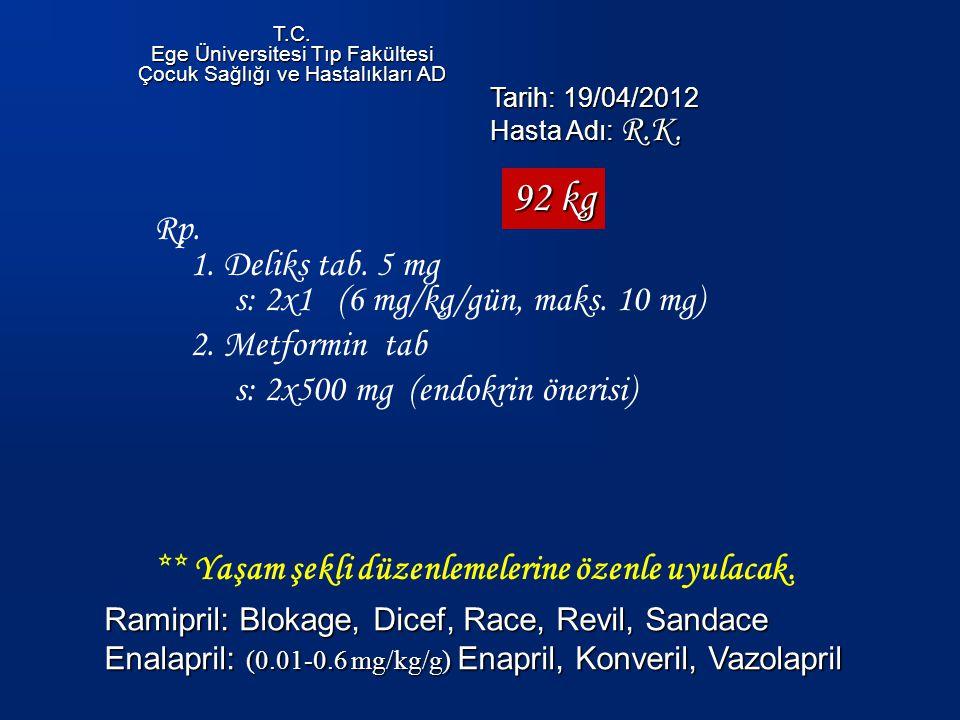 Rp.1. Deliks tab. 5 mg s: 2x1 (6 mg/kg/gün, maks.