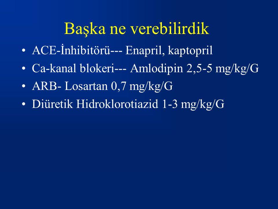 Başka ne verebilirdik ACE-İnhibitörü--- Enapril, kaptopril Ca-kanal blokeri--- Amlodipin 2,5-5 mg/kg/G ARB- Losartan 0,7 mg/kg/G Diüretik Hidroklorotiazid 1-3 mg/kg/G