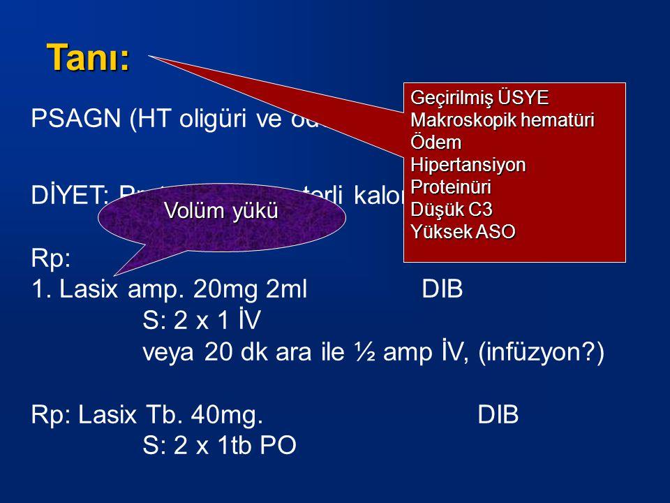 PSAGN (HT oligüri ve ödem) DİYET: Protein kısıtlı yeterli kalori içeren Rp: 1.