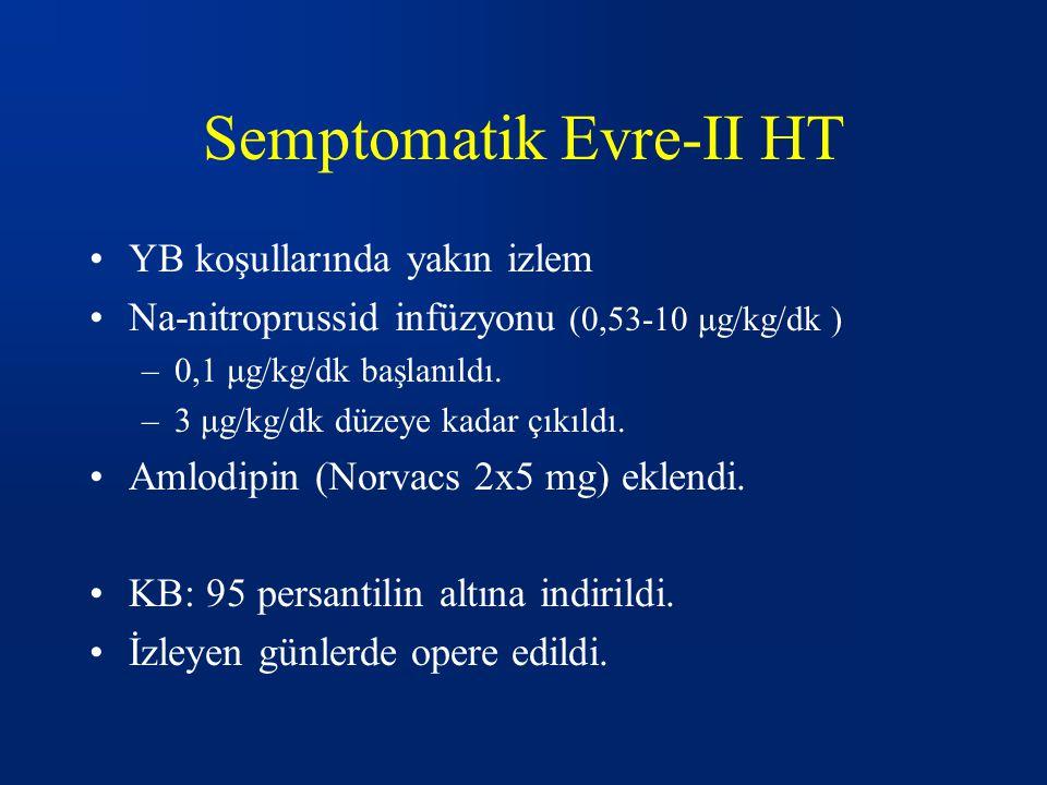 Semptomatik Evre-II HT YB koşullarında yakın izlem Na-nitroprussid infüzyonu (0,53-10 μg/kg/dk ) –0,1 μg/kg/dk başlanıldı.