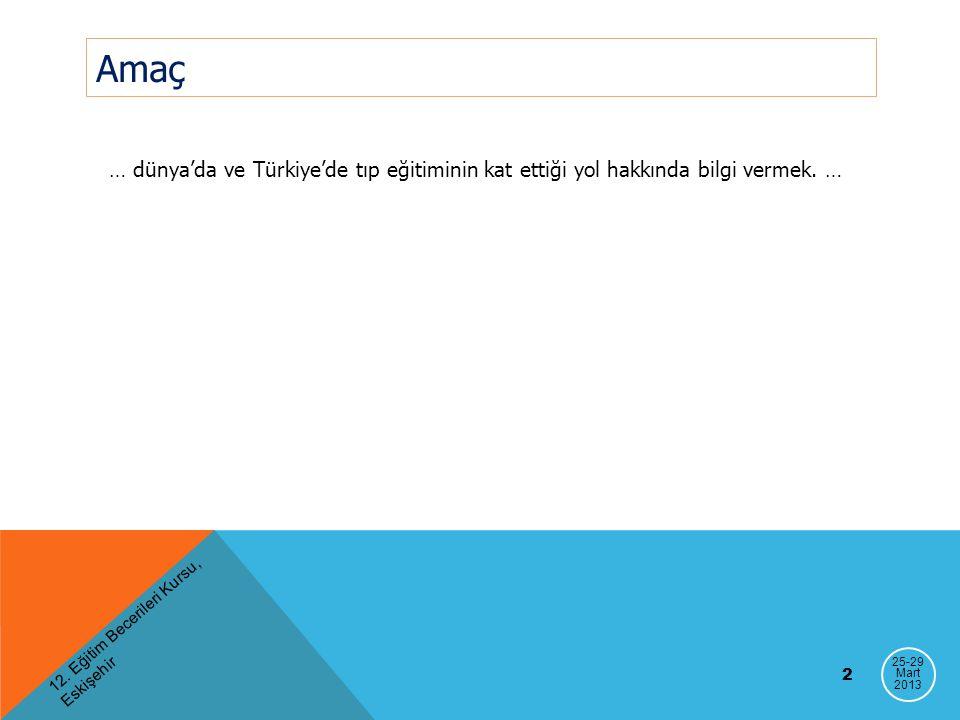 12. Eğitim Becerileri Kursu, Eskişehir 2 Amaç … dünya'da ve Türkiye'de tıp eğitiminin kat ettiği yol hakkında bilgi vermek. … 25-29 Mart 2013