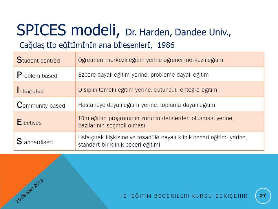 12. EĞITIM BECERILERI KURSU, ESKIŞEHIR 27 SPICES modeli, Dr. Harden, Dandee Univ., Çağdaş tIp eğİtİmİnİn ana bİleşenlerİ, 1986 S tudent centred Öğretm